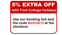 Discount code for Norfolk Country Cottages when used via Find Cottage Holidays